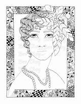 Coloring Flapper Adult Colouring Template Printable sketch template