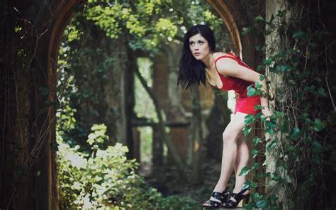Woman, Outdoors, Red Dress, High Heels, Nature, Bent Over