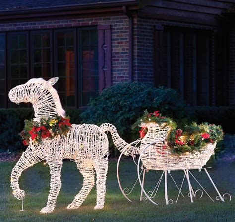 lighted holiday horse drawn sleigh christmas