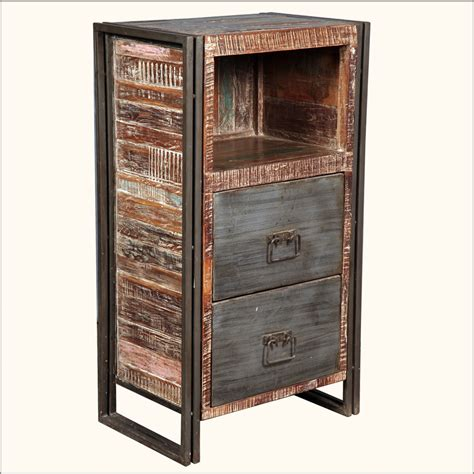 side table file cabinet industrial wood iron filing cabinet side office end