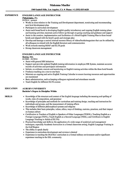 english language instructor resume samples velvet jobs