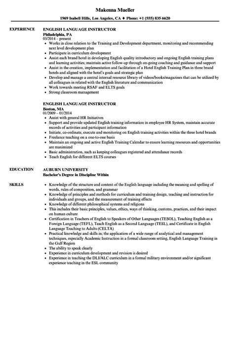 english language instructor resume samples velvet jobs