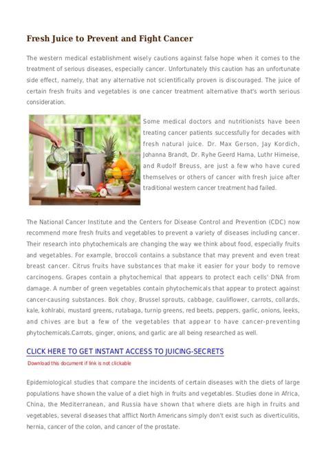 juice fight cancer prevent fresh juicing slideshare