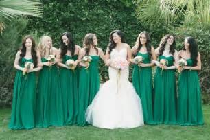 green bridesmaid dresses wears white mermaid wedding dress bridesmaids in emerald green onewed