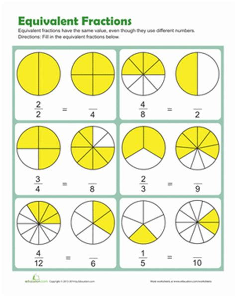 equivalent fractions worksheet education