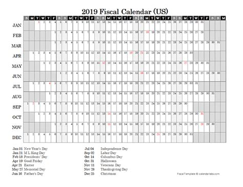 fiscal calendar usa  printable templates