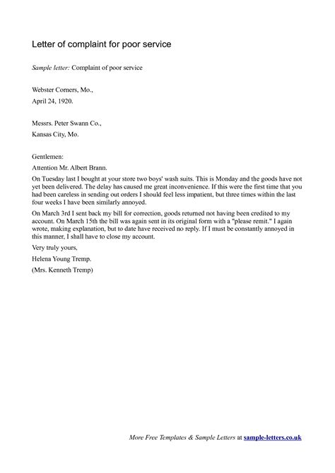 Sample Letters Of Complaint For Poor Service | scrumps