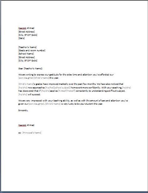 sample   letter  teacher template formal word