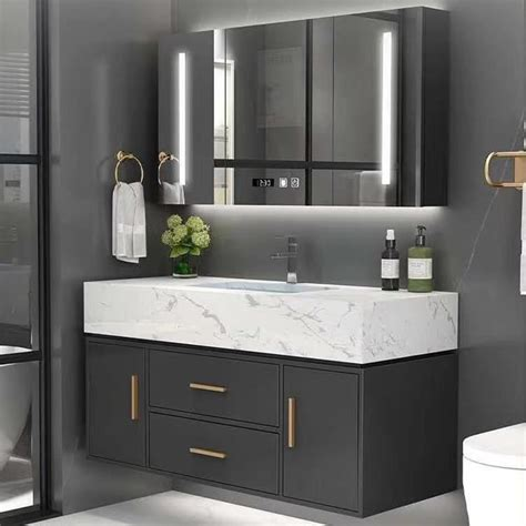 40inch black bathroom vanity set with medicine cabinet lighted