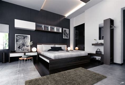 photographs monochrome modern bedroom black and white