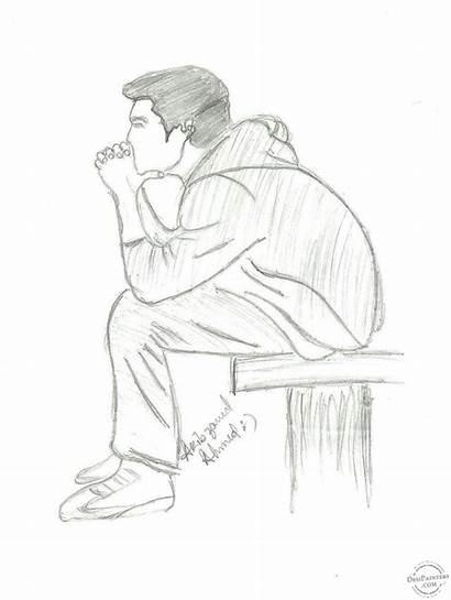 Pencil Drawings Sad Boy Lonely