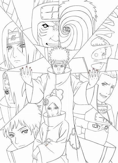 Akatsuki Coloring Naruto Drawing Sasuke Lineart Members