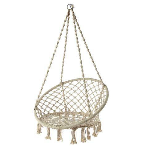 deco chambre bebe original fauteuil de jardin à suspendre en corde blanc gabriela