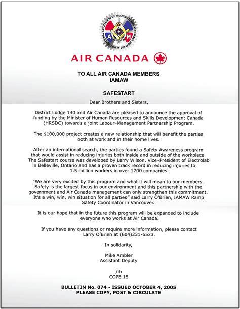 Air Canada Cover Letter safestart logo and graphics safestart