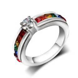 lgbt wedding rings titanium steel jewelry zircon rainbow stainless steel ring for rings