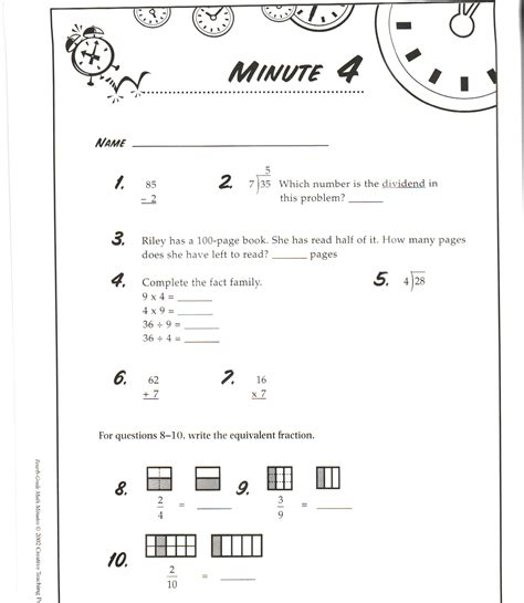 3rd grade math minute worksheets telling time worksheets
