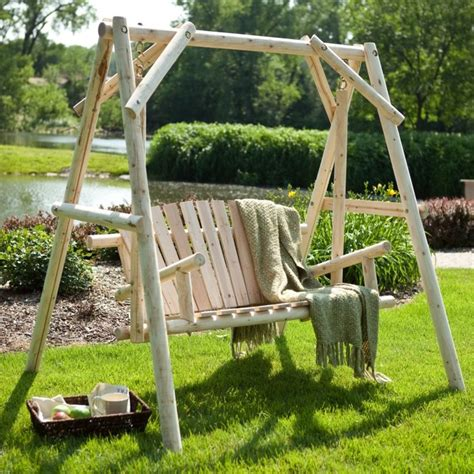 rustic log porch swing and a frame set modern