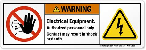 Safety Labels by Electrical Equipment Contact May Result In Shock Ansi