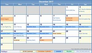 December 2017 Calendar With Holidays | weekly calendar ...