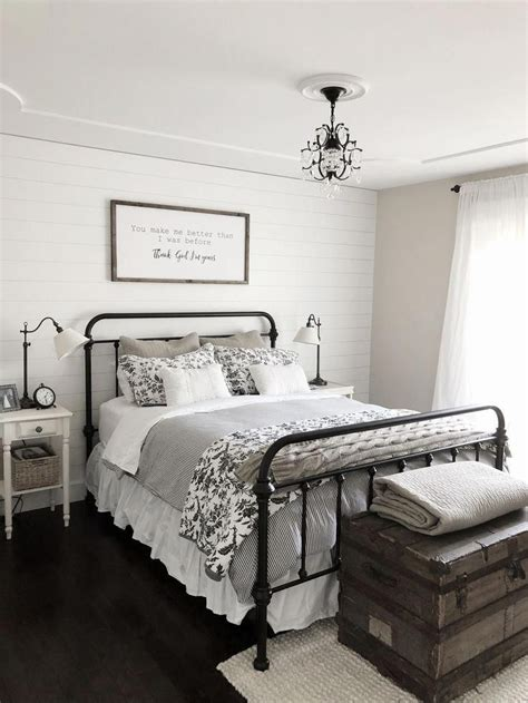 Home Decor Ideas For Bedroom by Modern Farmhouse Bedroom Decor Shiplap Accent Wall Black