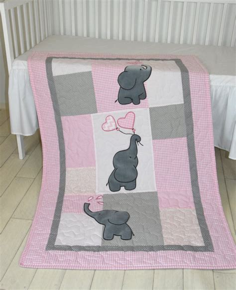 baby crib blankets baby quilt elephant blanket pink gray crib bedding
