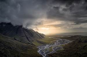 Nature, Landscape, Dark, Clouds, Mountain, River, Valley, Sunset, Sea, Iceland, Wallpapers, Hd