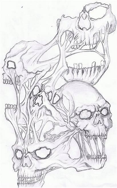 Skull Tattoo Drawings Coloring Evil Drawing Skulls