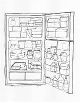 Fridge Coloring Office Drawing Open Refrigerator Pages Printable Getdrawings Getcolorings Print sketch template