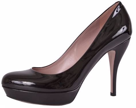 Pump Shoes : New Gucci 309995 0 Black Lisbeth Patent Leather High