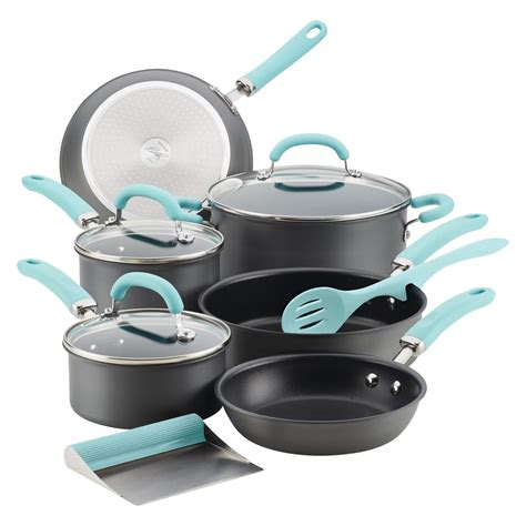 cookware rachael ray piece anodized hard create delicious aluminum light granite stone gray handles diamond nonstick colored titanium sets coating