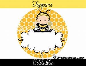 Bumble Bee Editable Favor Tags, Toppers D1 - Instant