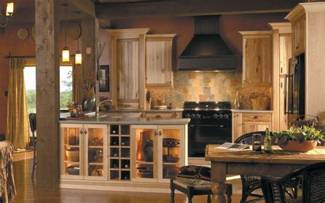 hickory rustic kitchen cabinets  medallion  natural