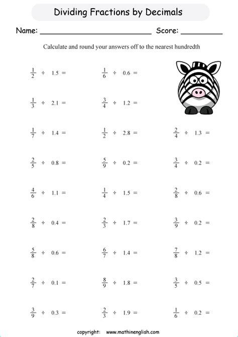 divide fractions  decimals printable grade  math worksheet