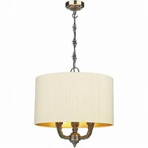 Traditional ceiling light bronze suspension with pale