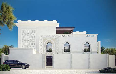 White Modern Islamic Villa Exterior Design - Jeddah, Saudi