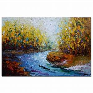 Landscape, Art, Autumn, River, Abstract, Painting, Oil