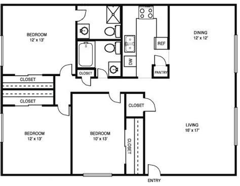 3 Bedroom 2 Bath Floor Plans