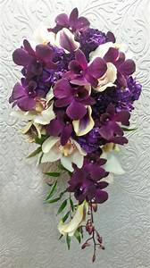 cascade wedding flower bouquet dark purple and white