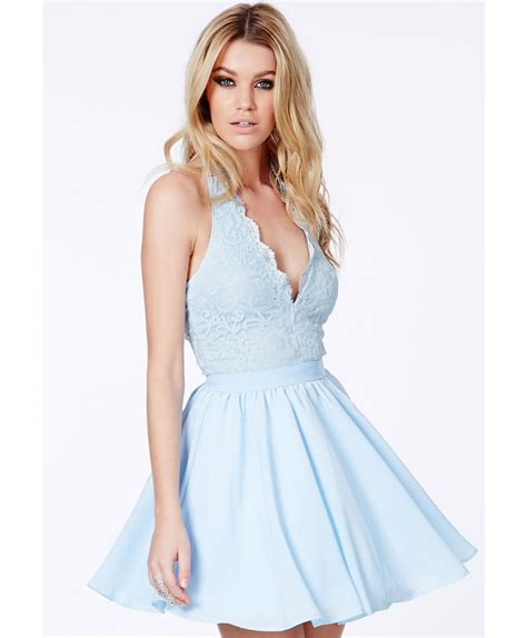 Cotton Dress Baby Blue lyst missguided nurit halterneck lace detail puffball