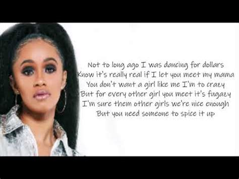 cardi b i like it like that you tube cardi b girls like you verse lyrics video youtube