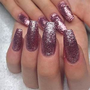 Glitter pink nails. Would you do long nails like this ...