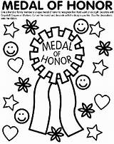 Medal Honor Coloring Pages Crayola Teacher Memorial Award Awards Ribbon Military Colouring Certificate Printable Sheets Colored Cut Service Preschool Soldier sketch template