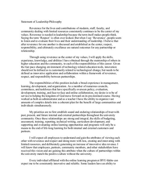 leadership philosophy template statement of leadership philosophy