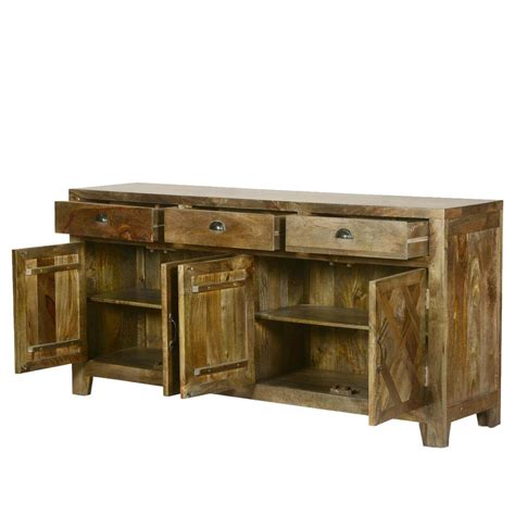 Sideboard Buffet Cabinet by Parquet Farmhouse Mango Wood Rustic Sideboard Buffet Cabinet