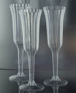 Clear plastic disposable economy champagne flutes are