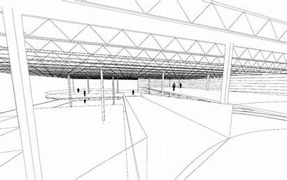 Space Drawing Sketchup Concept Interior Warehouse Park