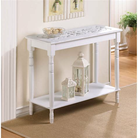furniture colonial carved top white wood hall sofa accent console table ebay