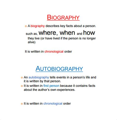 autobiography outline templates   word