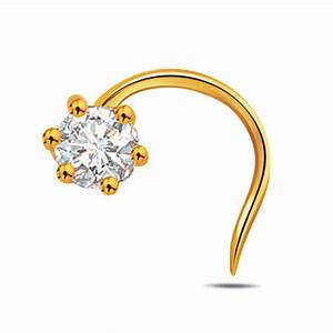 Solitaire Diamond nose Ring 0.10Ct Round Shape Solid ...