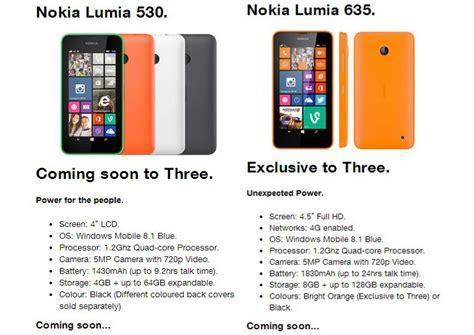 nokia lumia 530 and lumia 635 coming soon to ireland via three